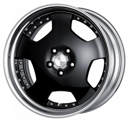 GLOSS BLACK [B] CENTRE DISK, POLISHED ANODIZED STEP RIM WITH CHROME RIVETS