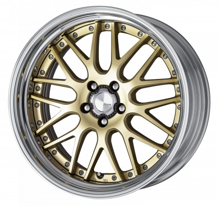 LIGHT METALLIC GOLD [LMG] CENTRE DISK, POLISHED ANODIZED STEP RIM WITH CHROME RIVETS