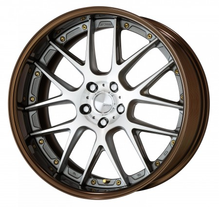 GR SILVER [GRP] CENTRE DISK, GLOSS BRONZE ANODIZED FLAT RIM WITH GOLD RIVETS