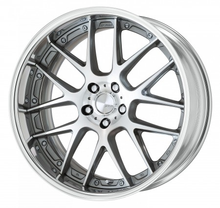 GR SILVER [GRP] CENTRE DISK, POLISHED ANODIZED FLAT RIM WITH CHROME RIVETS