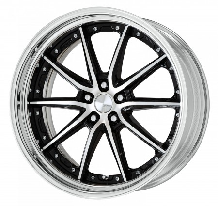 BLACK CUT CLEAR [BP] CENTRE DISK, POLISHED ANODIZED STEP RIM WITH CHROME RIVETS