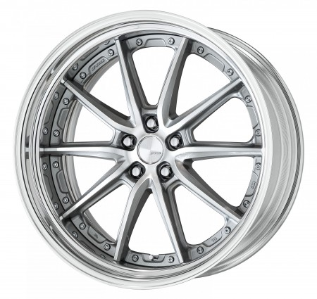GR SILVER [GRP] CENTRE DISK, POLISHED ANODIZED STEP RIM WITH CHROME RIVETS