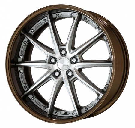 GR SILVER [GRP] CENTRE DISK, GLOSS BRONZE ANODIZED FLAT RIM WITH CHROME RIVETS