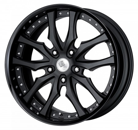 BLACK ANODIZED [SKA/B] CENTRE DISK, GLOSS BLACK ANODIZED FLAT RIM WITH CHROME RIVETS