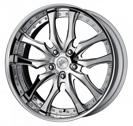 SUPER CHROME [SC] CENTRE DISK, POLISHED ANODIZED FLAT RIM WITH CHROME RIVETS