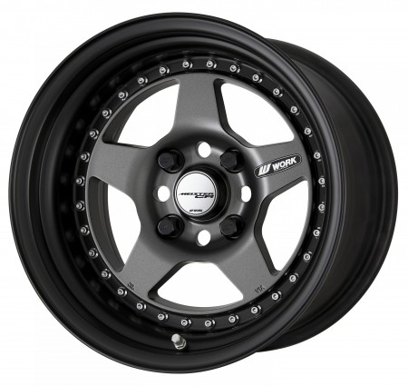 MATT GUNMETAL [MGM] CENTRE DISK, MATT BLACK ANODIZED STEP RIM WITH CHROME RIVETS