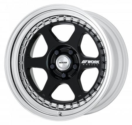 GLOSS BLACK [BLK] CENTRE DISK, POLISHED ANODIZED STEP RIM WITH CHROME RIVETS
