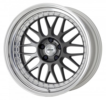 MATT GUNMETAL [MGM] CENTRE DISK, POLISHED ANODIZED STEP RIM WITH CHROME RIVETS