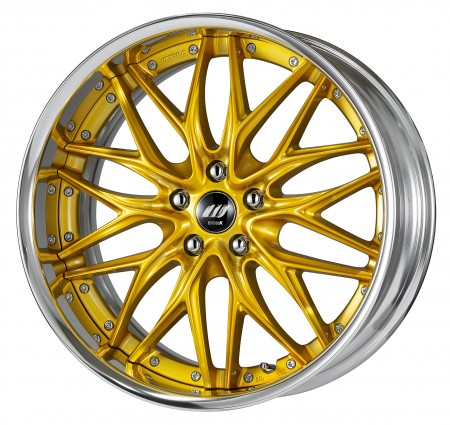 SILKY RICH SILVER [SRS] CENTRE DISK, POLISHED ANODIZED STEP RIM WITH CHROME RIVETS