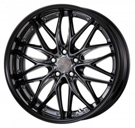 BRILLIANT SILVER BLACK [BSB] CENTRE DISK, GLOSS BLACK ANODIZED FLAT RIM WITH CHROME RIVETS