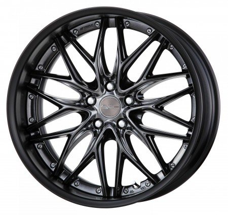 BRILLIANT SILVER BLACK [BSB] CENTRE DISK, MATT BLACK ANODIZED FLAT RIM WITH CHROME RIVETS