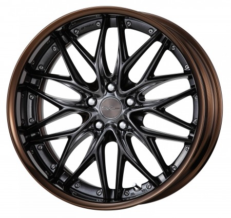 BRILLIANT SILVER BLACK [BSB] CENTRE DISK, GLOSS BRONZE ANODIZED FLAT RIM WITH CHROME RIVETS