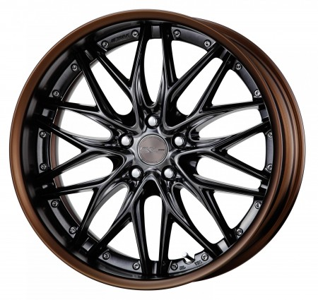 BRILLIANT SILVER BLACK [BSB] CENTRE DISK, MATT BRONZE ANODIZED FLAT RIM WITH CHROME RIVETS