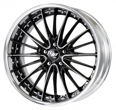 BRILLIANT SILVER BLACK [BSB] CENTRE DISK, POLISHED ANODIZED FLAT RIM WITH CHROME RIVETS