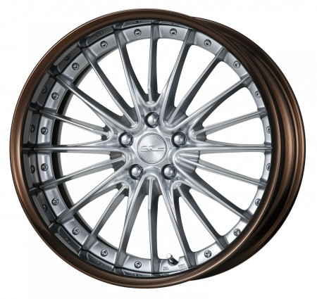 SILKY RICH SILVER [SRS] CENTRE DISK, GLOSS BRONZE ANODIZED FLAT RIM WITH CHROME RIVETS
