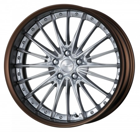 SILKY RICH SILVER [SRS] CENTRE DISK, MATT BRONZE ANODIZED FLAT RIM WITH CHROME RIVETS