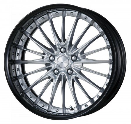SILKY RICH SILVER [SRS] CENTRE DISK, GLOSS BLACK ANODIZED FLAT RIM WITH CHROME RIVETS