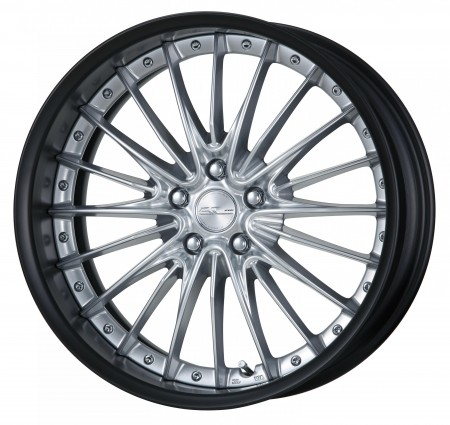 SILKY RICH SILVER [SRS] CENTRE DISK, MATT BLACK ANODIZED FLAT RIM WITH CHROME RIVETS