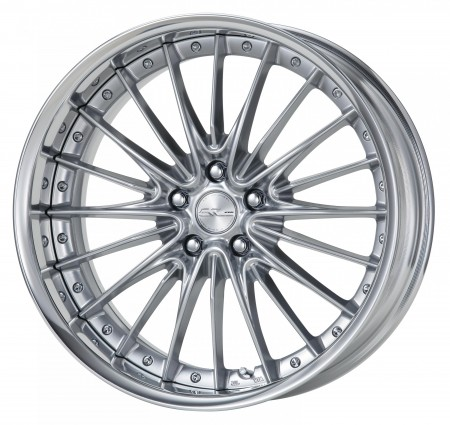 SILKY RICH SILVER [SRS] CENTRE DISK, POLISHED ANODIZED FLAT RIM WITH CHROME RIVETS