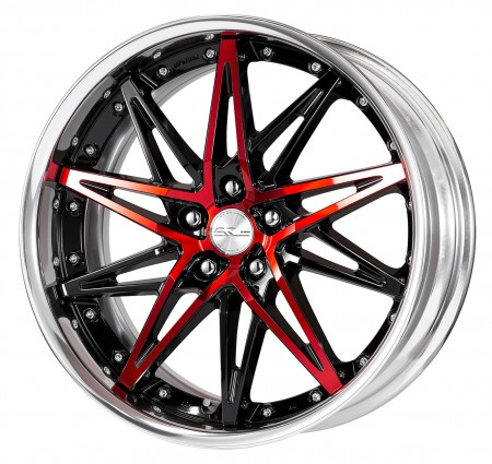BLACK CUT CLEAR [BP] CENTRE DISK, POLISHED ANODIZED FLAT RIM WITH CHROME RIVETS