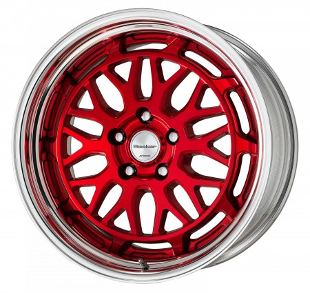 CLEAR RED [MCR] CENTRE DISK WITH POLISHED ANODIZED STEP RIM