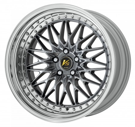 BRILLIANT SILVER BLACK [BSB] CENTRE DISK, POLISHED ANODIZED STEP RIM WITH CHROME RIVETS