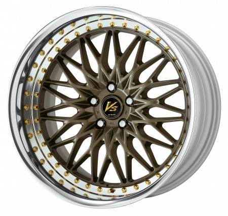 AHG BRONZE [AHG] CENTRE DISK, POLISHED ANODIZED FLAT RIM WITH GOLD RIVETS