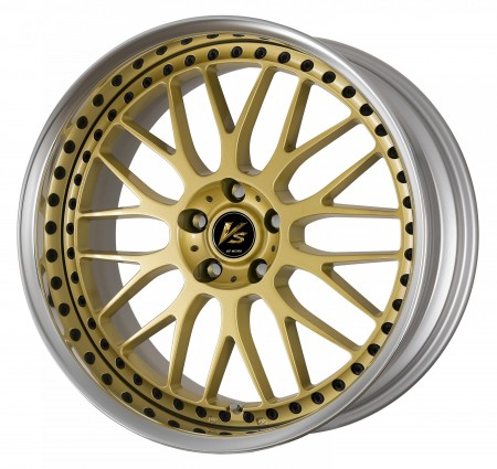 GOLD [GLD] CENTRE DISK, POLISHED ANODIZED FLAT RIM WITH BLACK RIVETS