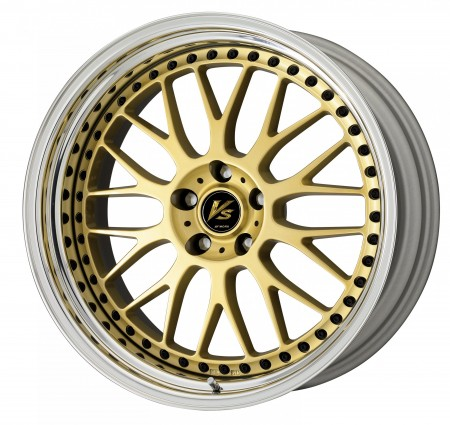 GOLD [GLD] CENTRE DISK, POLISHED ANODIZED STEP RIM WITH BLACK RIVETS