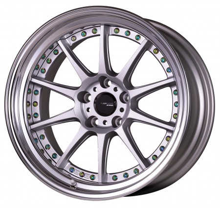 [18 INCH] MATT SILVER [MSL] CENTRE DISK, POLISHED ANODIZED FLAT RIM WITH TITAN RIVETS - WITH OPTIONAL CAP