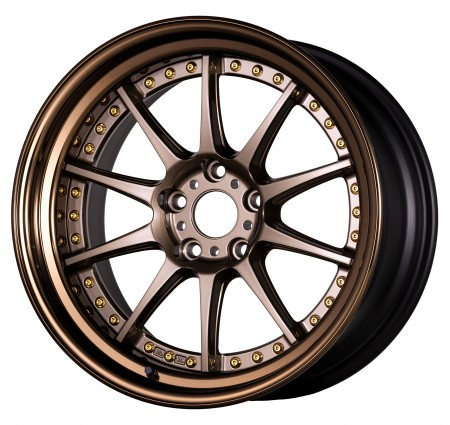 [18 INCH] HYPER GOLD [HPG] CENTRE DISK, GLOSS BRONZE ANODIZED FLAT RIM WITH GOLD RIVETS