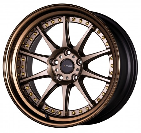 [18 INCH] HYPER GOLD [HPG] CENTRE DISK, GLOSS BRONZE ANODIZED FLAT RIM WITH GOLD RIVETS - WITH OPTIONAL CAP