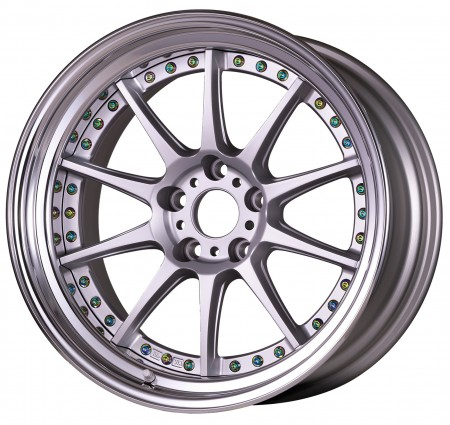 [18 INCH] MATT SILVER [MSL] CENTRE DISK, POLISHED ANODIZED FLAT RIM WITH TITAN RIVETS