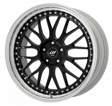 GLOSS BLACK [BLK] CENTRE DISK, POLISHED ANODIZED STEP RIM, CHROME RIVETS