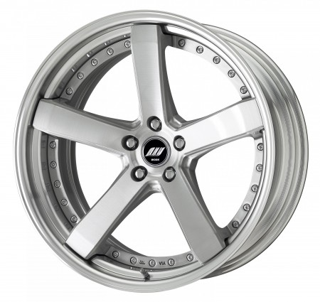 BRUSHED [BRU] DEEP CONCAVE CENTRE DISK, POLISHED ANODIZED STEP RIM WITH CHROME RIVETS
