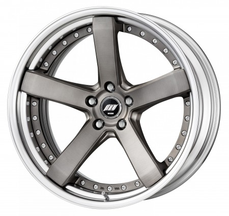 MATT GRAY BRUSHED [MBUA] DEEP CONCAVE CENTRE DISK, POLISHED ANODIZED STEP RIM WITH CHROME RIVETS