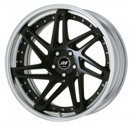 MATT BLACK [MBL] DEEP CONCAVE CENTRE DISK, POLISHED ANODIZED STEP RIM WITH CHROME RIVETS