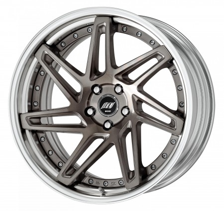 TRANS GRAY POLISH [TGP] DEEP CONCAVE CENTRE DISK, POLISHED ANODIZED STEP RIM WITH CHROME RIVETS