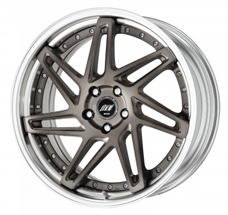 TRANS GRAY POLISH [TGP] SEMI CONCAVE CENTRE DISK, POLISHED ANODIZED STEP RIM WITH CHROME RIVETS