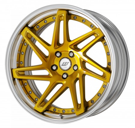 IMPERIAL GOLD [IPG] DEEP CONCAVE CENTRE DISK, POLISHED ANODIZED STEP RIM WITH CHROME RIVETS