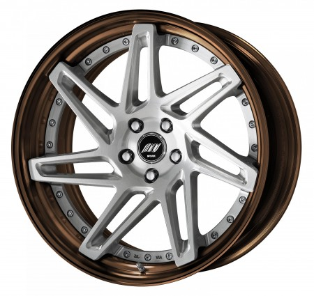 BRUSHED [BRU] DEEP CONCAVE CENTRE DISK, GLOSS BRONZE ANODIZED STEP RIM WITH CHROME RIVETS