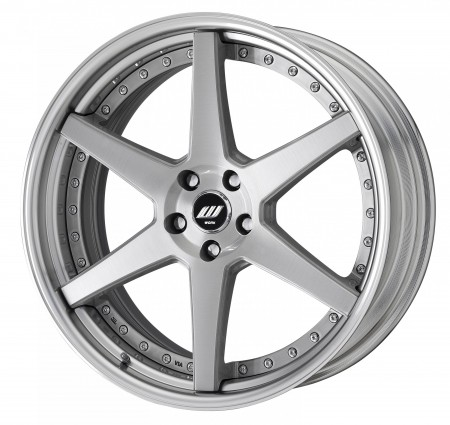 BRUSHED [BRU] SEMI CONCAVE CENTRE DISK, POLISHED ANODIZED STEP RIM WITH CHROME RIVETS