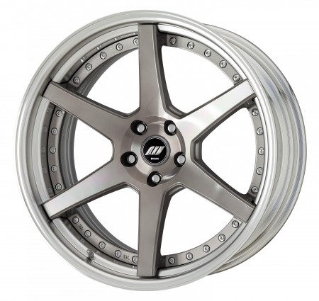 TRANS GRAY POLISH [TGP] MIDDLE CONCAVE CENTRE DISK, POLISHED ANODIZED STEP RIM WITH CHROME RIVETS