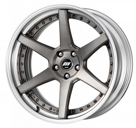 MATT GRAY BRUSHED [MBUA] DEEP CONCAVE CENTRE DISK, POLISHED ANODIZED STEP RIM WITH BLACK RIVETS